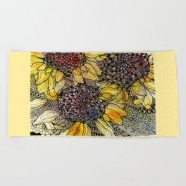 Ukrainian Sunflowers Beach Towel