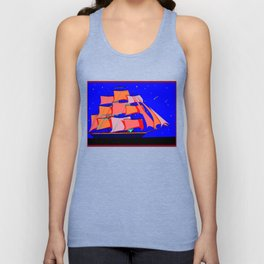 A Clipper Ship at Sea Full Sail at Night under the Stars Unisex Tank Top