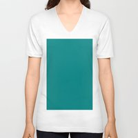 teal V-neck T-shirts featuring Teal by List of colors
