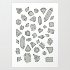 doodle crystals on white Art Print