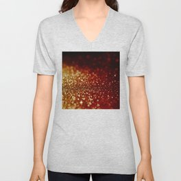 Fire and flames - Red and yellow glitter effect texture Unisex V-Neck