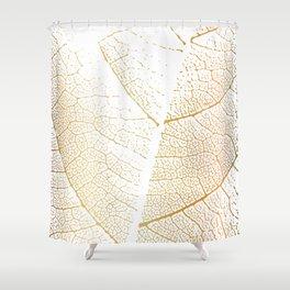 Gold Leaf Skeleton Tropical Abstract Botanical Boho Luxury  Shower Curtain