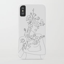 Minimal Line Art Woman with Wild Roses iPhone Case
