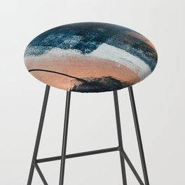 Vienna: a minimal, abstract mixed-media piece in pinks, blue, and white by Alyssa Hamilton Art Bar Stool