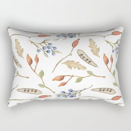 Rustic brown blue green watercolor berries Autumn floral Rectangular Pillow