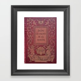 Antique Book Cover * Literacy Art for Book Lovers * Don Quixote * Red * Gold #donquixote Framed Art Print