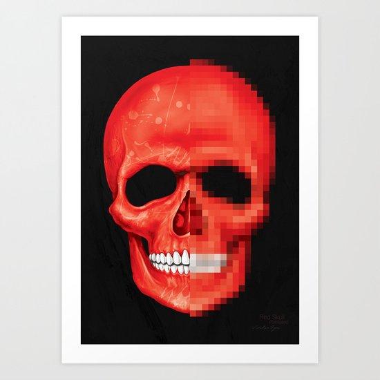 Red Skull Pixelated Art Print