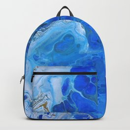 Storm Surge Blue and Brown Fluid Acrylic Abstract Painting Backpack