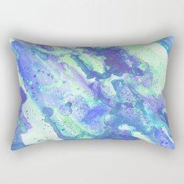 Neon Blue Abstract Fluid Painting Rectangular Pillow