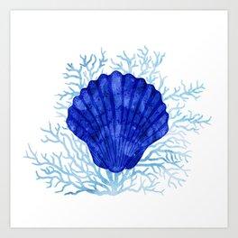 Seashell on coral - watercolors Art Print