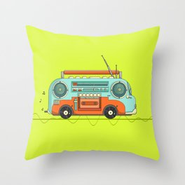 The Music Bus Throw Pillow