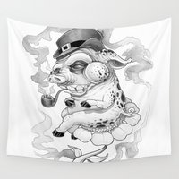 pig Wall Tapestries featuring Pig & Pipe by Kikillustration