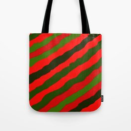 Merry Red Green Holiday Stripes Tote Bag
