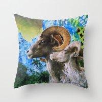 ram Throw Pillows featuring Ram by John Turck