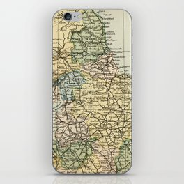 North England and Wales Vintage Map iPhone Skin