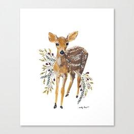 Floral Fawn Canvas Print
