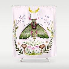 Pink Moth Shower Curtain