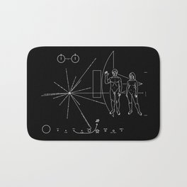 Nasa Pioneer Space Craft Plaque White Text on Black Alien Message Bath Mat
