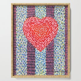 High Energy Squiggle Heart - Impressionist Heart Art Serving Tray