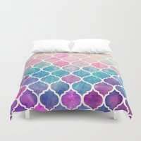 mint Duvet Covers featuring Rainbow Pastel Watercolor Moroccan Pattern by micklyn