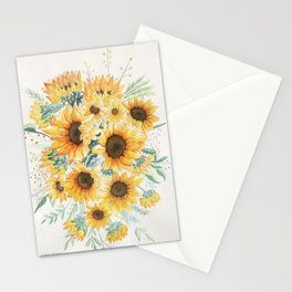 Loose Watercolor Sunflowers Stationery Cards