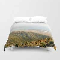 greece Duvet Covers featuring Crete, Greece by Emelie Johansson