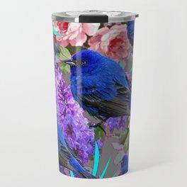 Spring  Blue  Birds Garden Floral Pattern Travel Mug