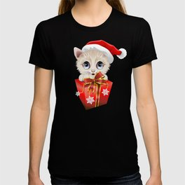 Kitten Christmas Santa with Big Red Gift T-shirt