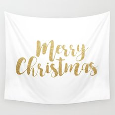 Merry Christmas | Gold Glitter Script Wall Tapestry