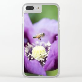 Hungarian Blue Bread Seed Poppy and Bee Clear iPhone Case