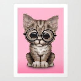 Cute Brown Tabby Kitten Wearing Eye Glasses on Pink Art Print