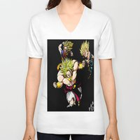 dragonball z V-neck T-shirts featuring Broly Dragonball Z by bernardtime