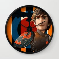 hiccup Wall Clocks featuring Train a Dragon by milanova