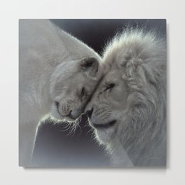 White Lion Love Metal Print