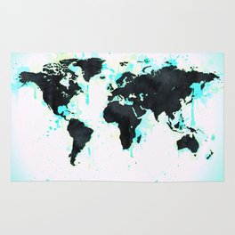 World Map Turquoise Paint and Black Ink Rug