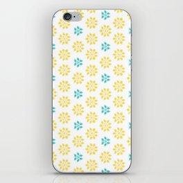 Spring Yellow Blue Flower Pattern iPhone Skin