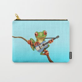 Tree Frog Playing Acoustic Guitar with Flag of Nicaragua Carry-All Pouch