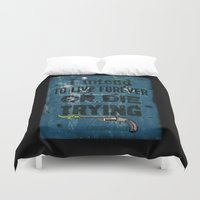 marx Duvet Covers featuring Die Trying by Sybille Sterk