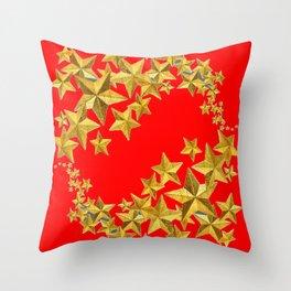 DECORATIVE GOLD  STARS RED CHRISTMAS ART Throw Pillow