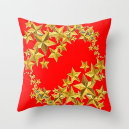 DECORATIVE GOLD  STARS RED CHRISTMAS ART Throw Pillow
