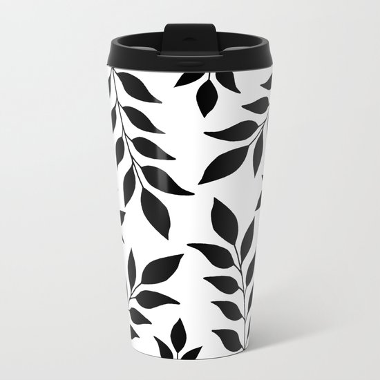 Black Leaves Pattern Metal Travel Mug