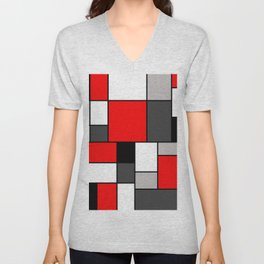Red Black and Grey squares Unisex V-Neck