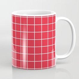Rose madder - red color - White Lines Grid Pattern Coffee Mug