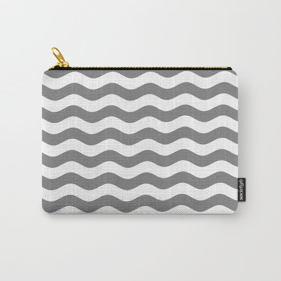 Wavy Stripes (Gray/White) Carry-All Pouch