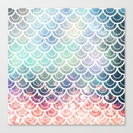 Mermaid Scales Coral and Turquoise Canvas Print