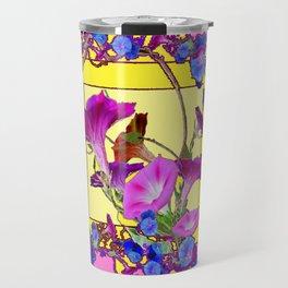 Blue Morning Glories Butterfly Yellow Patterns Pink Art Travel Mug
