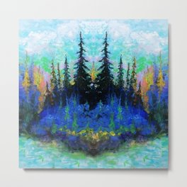 Blue Spruce Island Abstract Art Metal Print