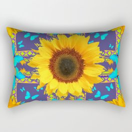 Turquoise Butterflies & Yellow Sunflower Puce-Grey Art Rectangular Pillow