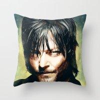 daryl dixon Throw Pillows featuring Daryl Dixon by p1xer