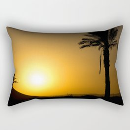 Golden Andalusian sunset with silhouette palm trees and mountain Rectangular Pillow